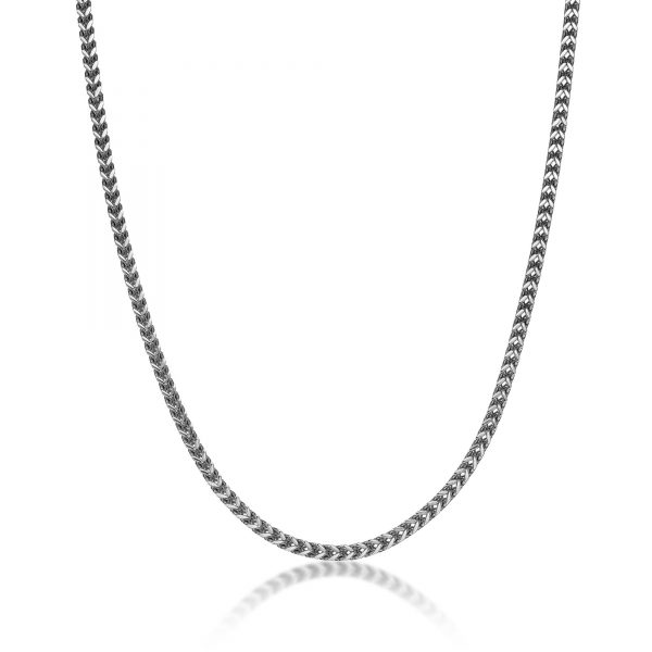 Men's Stainless Steel Thin Foxtail Chain Necklace - 4 MM Wide, 20 Inches Length with Lobster Clasp
