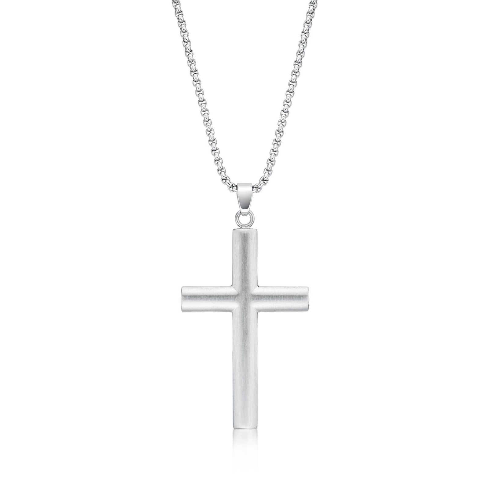 Men's Stainless Steel Minimalist Cross Pendant - 24 Inch Box Chain