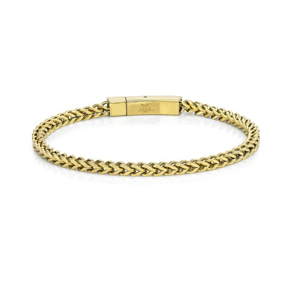 The Fox - Stainless Steel Gold Ion Plated Thin Foxtail Bracelet - 4 MM Wide, 9 Inches Length with snap Lock