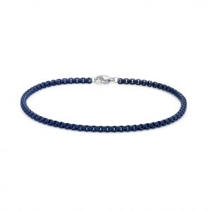 Men's Stainless Steel Blue Acrylic Thin Round Box Bracelet - 3 MM Wide, 9 Inches Length with Lobster Closure