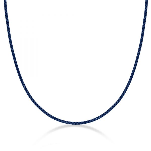 Men's Stainless Steel Blue Acrylic Thin Round Box Chain Necklace - 3 MM Wide, 24 Inches Length with Lobster Clasp