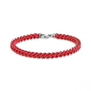 Men's Stainless Steel Red Acrylic Thin Franco Bracelet - 5 MM Wide, 9 Inches Length with Lobster Closure
